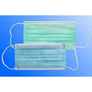Chirurgická ústenka s gumičkami – bílá, zelená, modrá; 50 ks / bal.